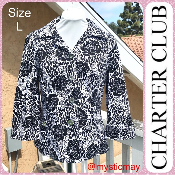 Charter Club Jackets & Blazers - Ladies Black and White Abstract Floral Jacket Sz L